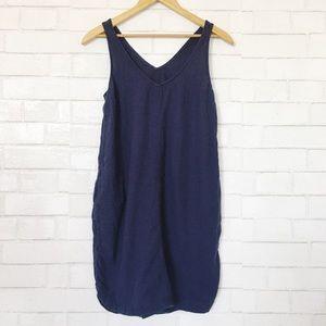 Navy Blue Linen Blend Double V Mini Dress